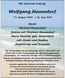 Anzeige für Wolfgang Neuendorf