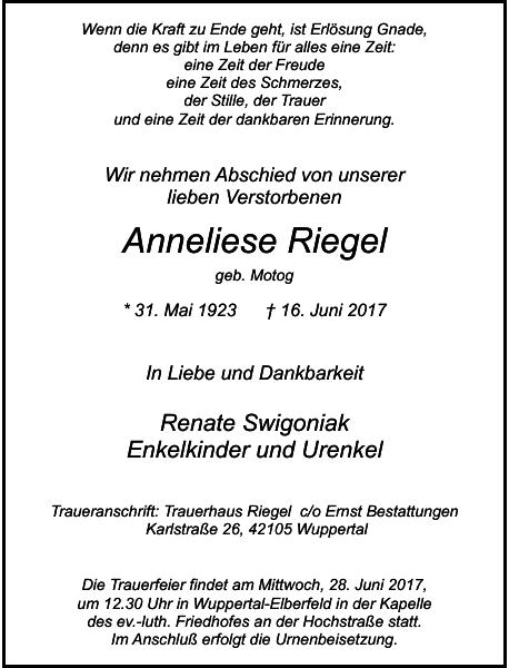 Anneliese Riegel : Traueranzeige