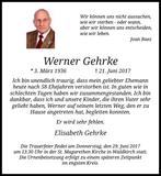 Anzeige für Werner Gehrke