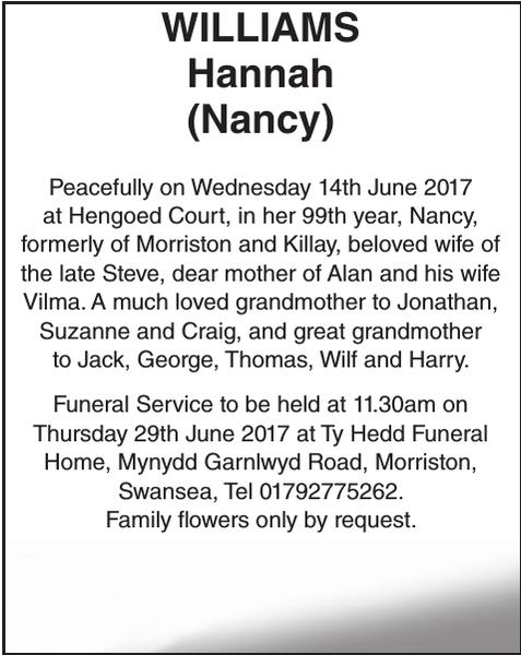 Obituary notice for WILLIAMS Hannah