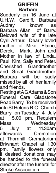 Obituary notice for GRIFFIN Barbara
