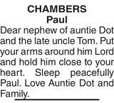 Obituary notice for CHAMBERS Paul