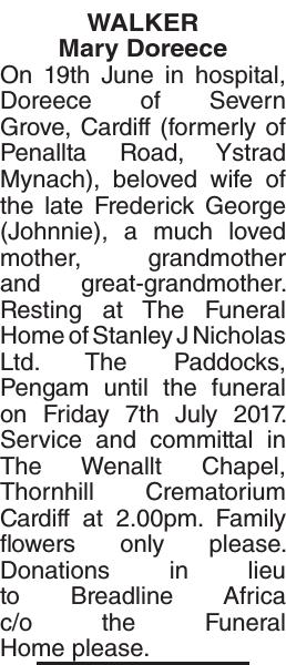 Obituary notice for WALKER Mary