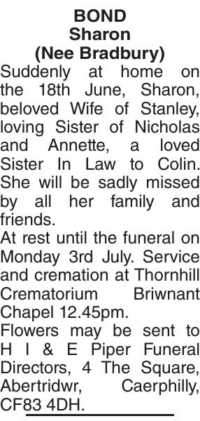 Obituary notice for Sharon