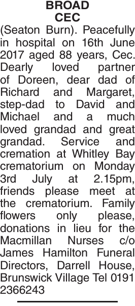 Obituary notice for BROAD CEC
