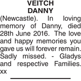 Memorial notice for VEITCH DANNY