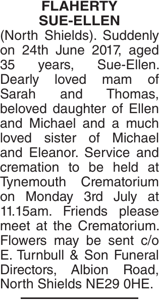 Obituary notice for FLAHERTY SUE