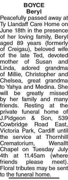 BOYCE Beryl : Obituary