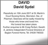 DAVID David : Obituary