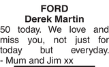 FORD Derek : Birthday memorial