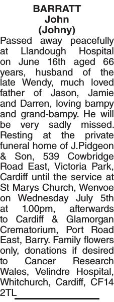 BARRATT John : Obituary