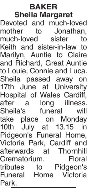 BAKER Sheila : Obituary