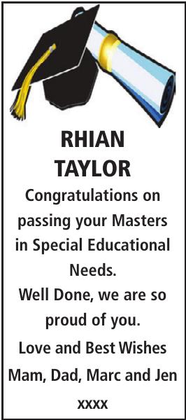 RHIAN TAYLOR : Congratulations