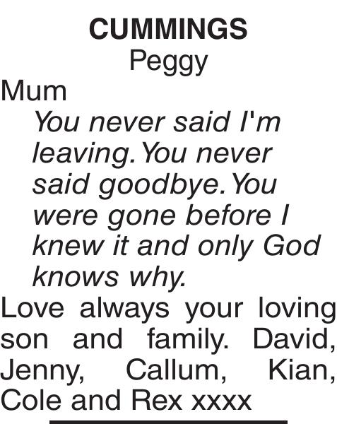 CUMMINGS Peggy : Obituary