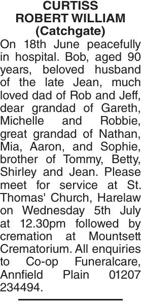 CURTISS ROBERT : Obituary