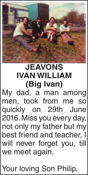 JEAVONS : Memorial