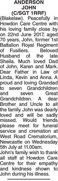 ANDERSON JOHN : Obituary