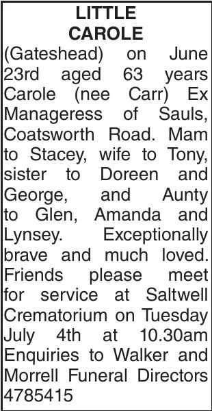 CAROLE : Obituary