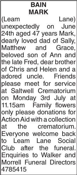 BAIN MARK : Obituary