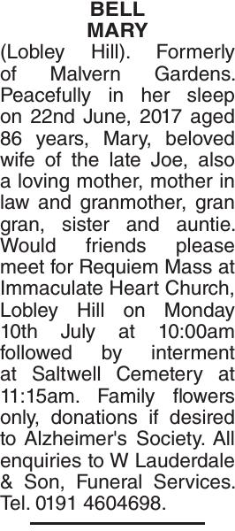 BELL MARY : Obituary