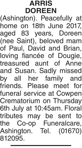 ARRIS DOREEN : Obituary