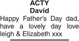 ACTY David : Father's day