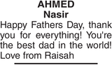 AHMED Nasir : Father's day