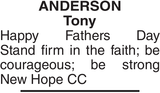 ANDERSON Tony : Father's day