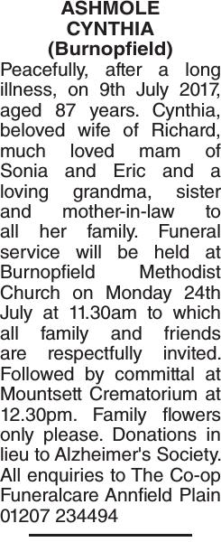 ASHMOLE CYNTHIA : Obituary