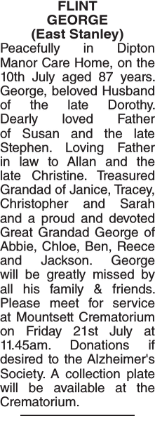FLINT GEORGE : Obituary