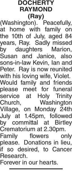 DOCHERTY RAYMOND : Obituary