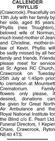CALLENDER PHYLLIS : Obituary