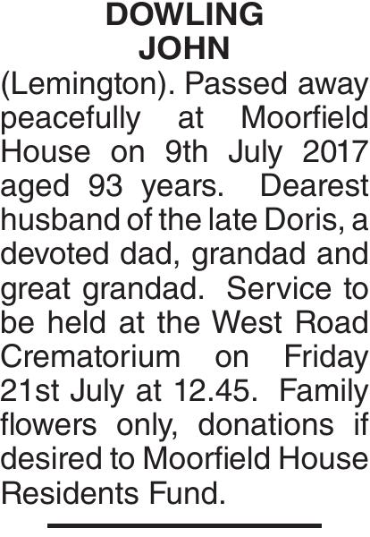DOWLING JOHN : Obituary
