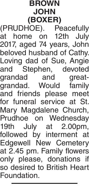 BROWN JOHN : Obituary