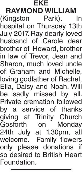 EKE RAYMOND : Obituary