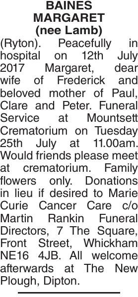 BAINES MARGARET : Obituary