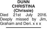 Memorial notice for DUNN CHRISTINA