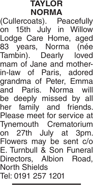 Obituary notice for TAYLOR NORMA