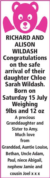 Birth notice for RICHARD
