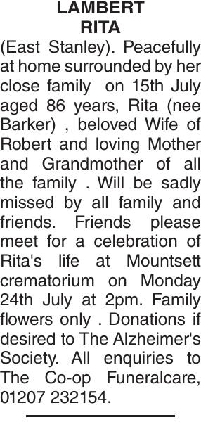 Obituary notice for LAMBERT