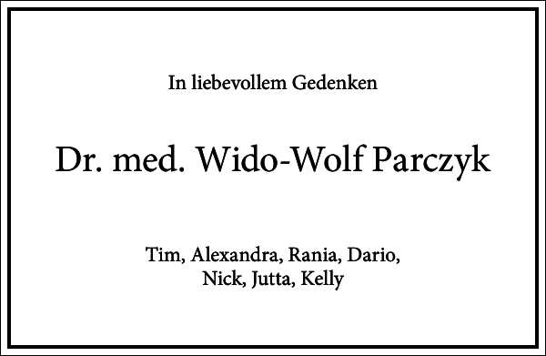 Dr. med. Wido-Wolf Parczyk