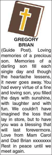 GREGORY BRIAN : Memorial