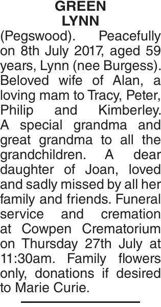 GREEN LYNN : Obituary