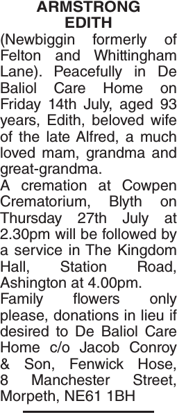 ARMSTRONG EDITH : Obituary