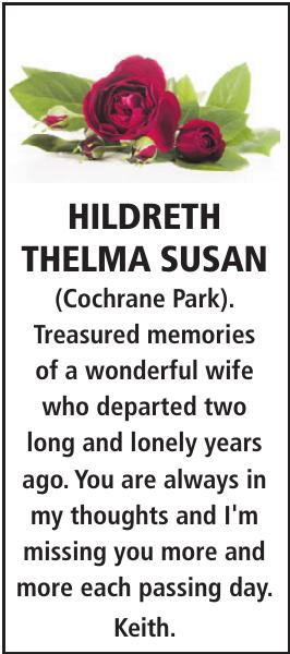 Memorial notice for HILDRETH THELMA