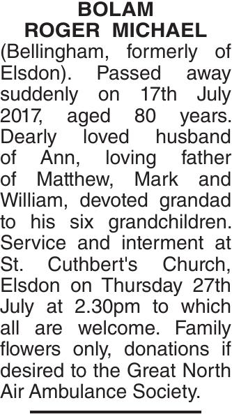 BOLAM ROGER : Obituary
