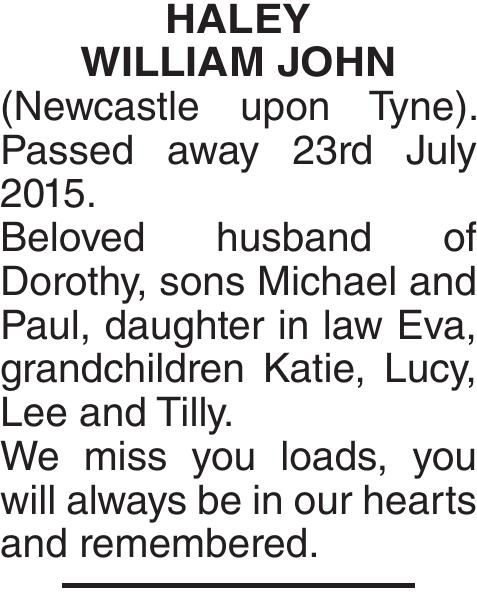 Memorial notice for HALEY WILLIAM