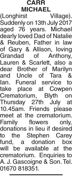 CARR MICHAEL : Obituary