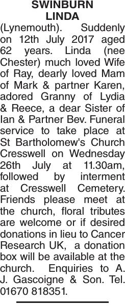 Obituary notice for SWINBURN LINDA