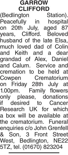 GARROW CLIFFORD : Obituary
